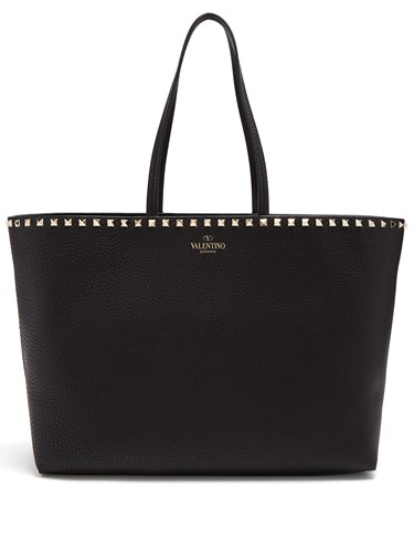 Valentino Rockstud Leather Tote Bag Black D5YNO07