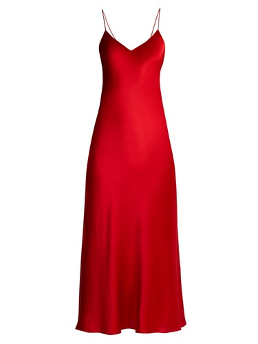 IGLESIAS ADRIANA Dress Red Slip Silk Jadi Satin Svrdvq