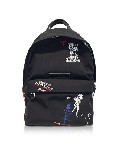 McQ by Alexander McQueen Handbags Black Embroidered Nylon Backpack vWlSRN