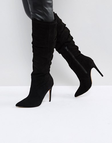 Asos Cora Slouch Pointed Knee Boots Black 48Pm61o3t