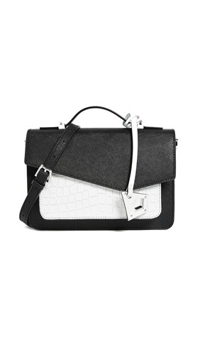 Botkier Cobble Hill Cross Body Bag Black White Embossed NuIod3u