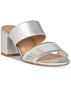 Esprit Sophia Strappy Slide Dress Sandals Women's Shoes Silver Mesh MG9i8