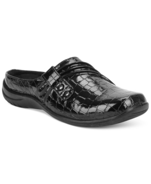 Easy Street Shoes Holly Comfort Clogs Women's Black Patent Crocco L2J26Gl