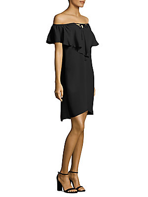 Kobi Halperin Lani Off The Shoulder Silk Dress Black Sf6T9