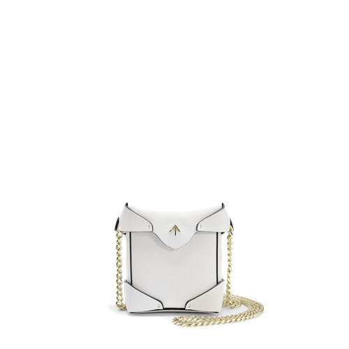 MANU Atelier Micro Pristine Bag With Chain Strap In White Vegetable Tan Leather PAuxDpZZ
