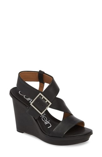 Black Wedge Leather Sandal Calvin Klein Palma fqvgwwZOx