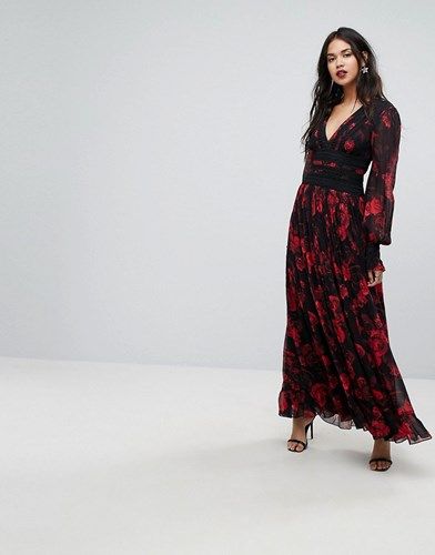 Forever New Column Maxi Dress In Rose Print Dark Base Floral Multi CoxZNY