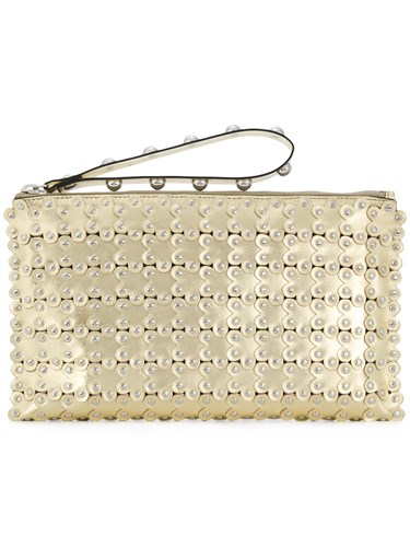 RED Valentino Flower Puzzle Clutch Metallic ruSFVEfkY