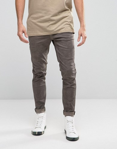 Skinny Chinos With Oil Wash And Raw Hem In Brown Turkish Coffee