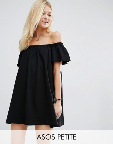 Asos Petite Off Shoulder Mini Dress Black AtXNh99