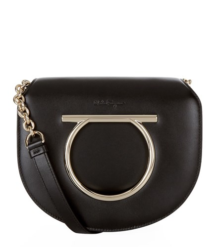 Salvatore Ferragamo Medium Vela Gancio Shoulder Bag Black wjnsD1X