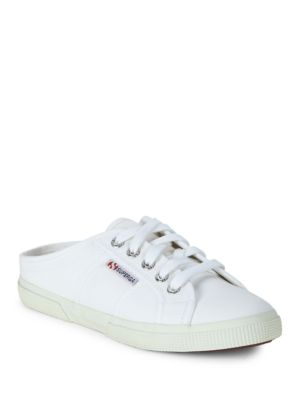 Superga Textured Lace Up Slip On Sneakers White NLoxK2KSCP