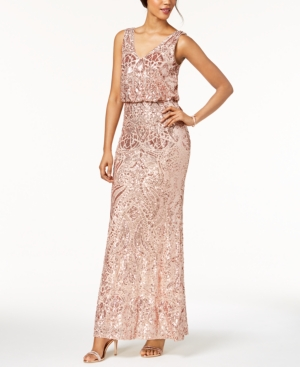 Betsy & Adam Sequined Blouson Gown Peach Nude ntDyEo