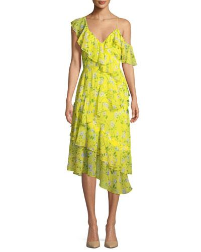 Alice + Olivia Olympia Asymmetric Ruffle Dress Yellow Pattern GxGgjT1