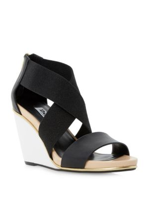Dune Kaye Crossover Strap Leather Wedge Sandals Black Jqnmw