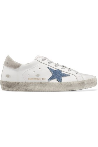 Golden Goose Deluxe Brand Superstar Distressed Leather And Denim Sneakers White Gbp jUjmO