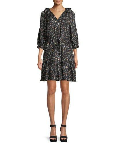 Sleeve Print Taylor Shirtdress Black Rebecca Vine Long Silk Ivq8q
