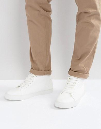 Asos High Top Trainers In White Tumbled Leather Look White xiWssHb