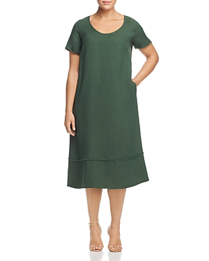 Marina Rinaldi Domino Frayed Midi Dress Green iJLlj7d