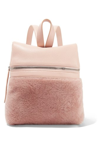 Rose Small Leather Textured Antique Backpack And Kara Shearling 0qPpq