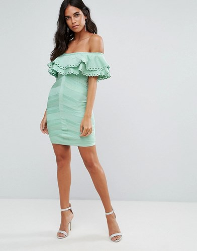 Forever Unique Bandage Off Shoulder Dress With Frill Overlay Green x94qHzEyCc
