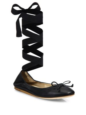 Saks Fifth Avenue Beau Leather Ankle Wrap Ballet Flats Black 3majcoi