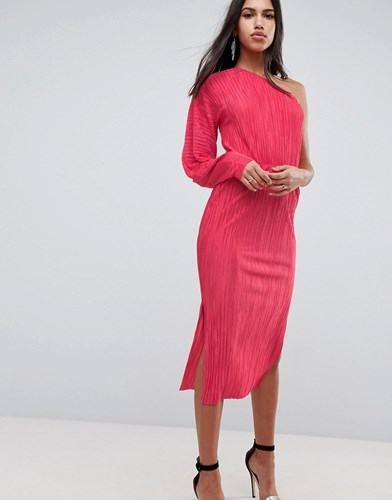 Sleeve Shoulder Balloon In Pink With Plisse Hot Dress Asos One wqp6fX77