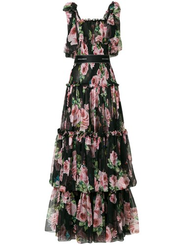 Dolce & Gabbana Tiered Floral Dress Black 5Hh5nMePC