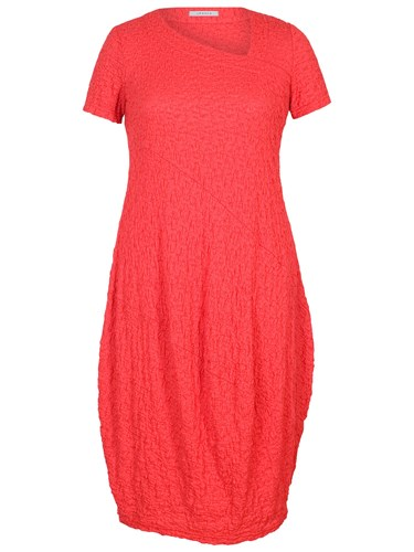 Chesca Asymmetric Neck Bubble Dress Coral T0dC1