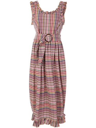 Isa Arfen Ruffle Trim Checked Dress Multicolour UJsYEh8ea