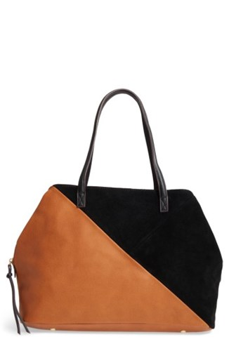 Sole Society Millar Faux Leather Tote Brown Cognac Combo 7WRH2F4M