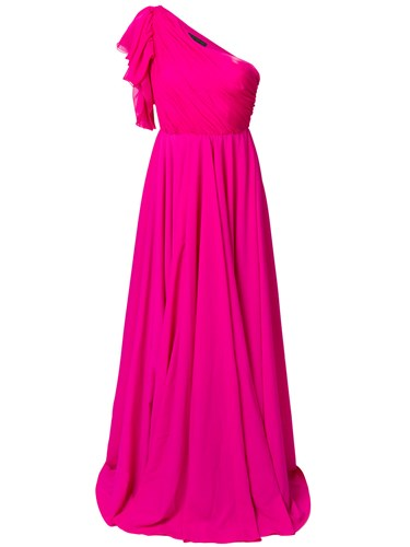 And Purple Salerno Francesco Asymmetric Paolo Pink Gown Ruffle YBwB4F