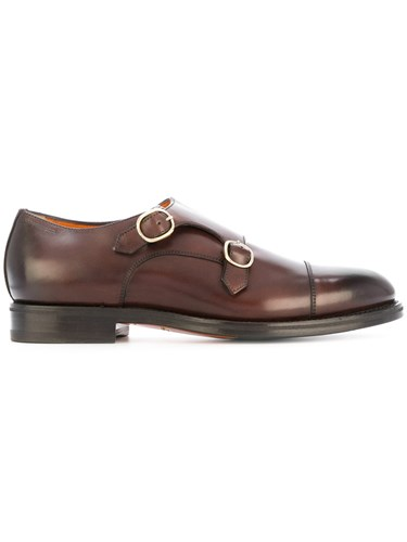 Santoni Classic Monk Shoes Leather Rubber Brown ONo4Bcy