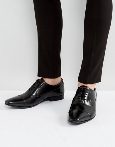WALK LONDON City Leather Oxford Shoes Black KEDXR4Bb