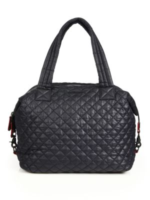M Z Wallace Sutton Large Quilted Nylon Tote Black Clay TWMqgSGL