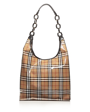 Burberry Large Vintage Check Hobo Shopper Antique Yellow Black Gold qng4aGlhp
