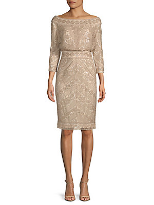 Tadashi Shoji Off The Shoulder Beaded Cocktail Dress Champagne 6fEDKe04