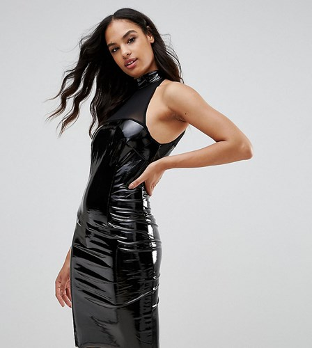 Naanaa Bodycon Dress With Mesh Detail In Pvc Black 2XGg9Ye