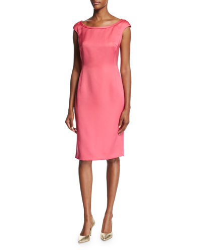 Escada Duchesse Satin Boat Neck Cap Sleeve Sheath Dress Pink Myrtle lqIdA