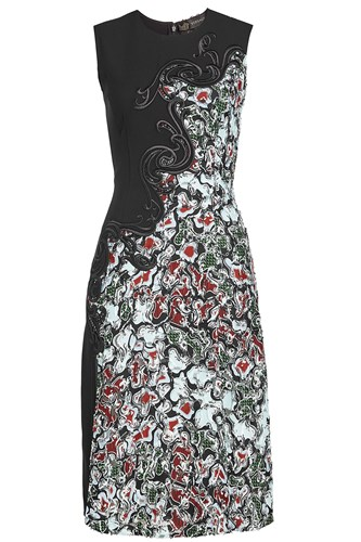 Versace Embroidered Lace Dress With Silk Black RR9rid