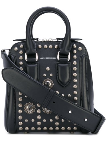 Size Leather 'Heroine' Black Alexander Bag McQueen Small One Women aAWFHWqw