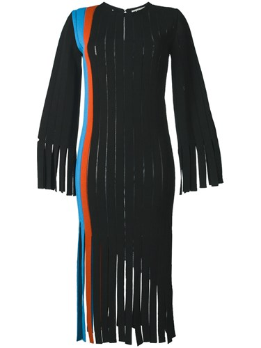 Marco De Vincenzo Fringed Vertical Panel Dress Black iCqxoB0J3e