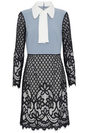Mikael Aghal Paneled Guipure Lace And Crepe Dress Multicolor 3BWK7LAc