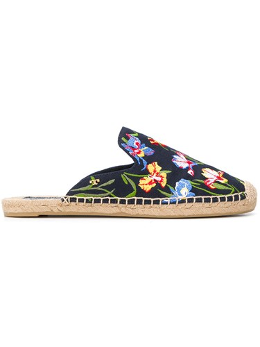 Tory Burch Max Embroidered Espadrille Sandals Black kmAxXHmTf