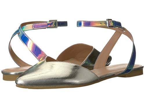 BCBGeneration Mae Blue Tint Silver Flat Shoes Gold tyUCsR4PAG