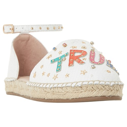Dune Glitza Embellished Two Part Espadrilles White Leather bs0Gq8Jh