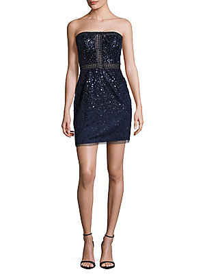 Basix Black Label Sequined Zip Dress Navy s5YArG4TO