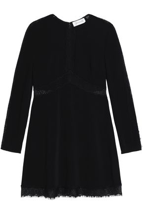Zimmermann Lace Trimmed Crepe Mini Dress Black QKf8dnd