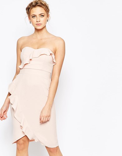 Pink Dress Ryan With Midi Detail Elise Frill Nude Pencil Fq7zPqwTg