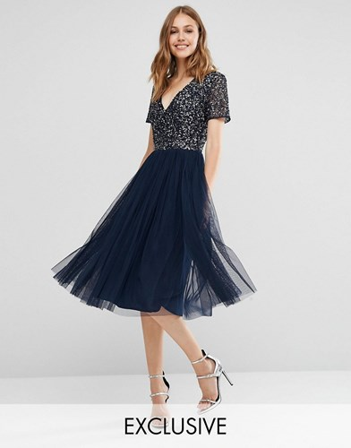 Maya V Neck Midi Tulle Dress With Tonal Delicate Sequins Navy 1O9SrooCZ
